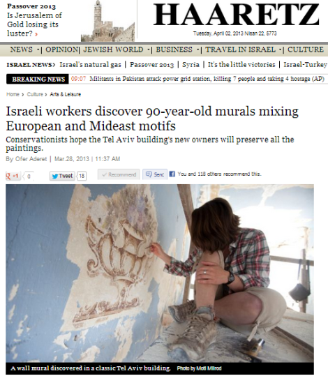 Saving the Stones intern, Alli, focused on the exposure of turn wall paintings from the early 1900's in Tel Aviv's historic Nachalat Binyamin.