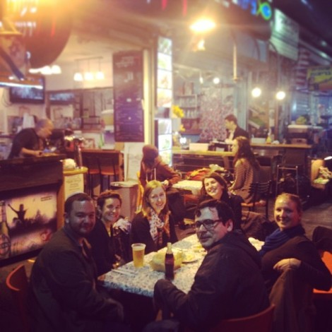 After their tour in the small finds lab of the Israel Antiquities Authority, the Saving the Stones 7 interns enjoyed a local dinner out in Jerusalem in Shuq Mahane Yehuda. (From L-R, Ben Douglass, Bronwyn Tulloh, Creighton Avery, Laurine Bahloul, Melissa Somero, and Noah Marcus).