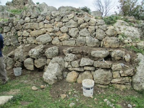 Photo taken by Ben Douglass, prior to the work to stabilize and fill new mortar for one of the ancient walls of the Rashbi Synagogue in Meron, Israel.