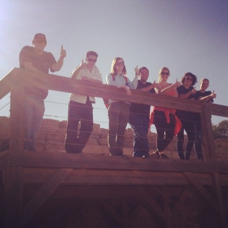 On tour in Caesarea, at the hippodrome on the sea. Did the competitors get a thumbs up or a thumbs down?