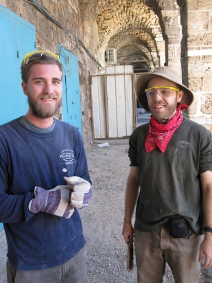 Preparing for conservation work at the historic Khan el-Shwarde in Old Acre