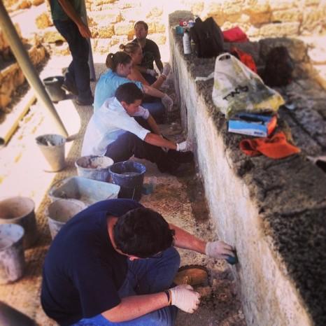 Stabilizing ancient Roman plaster at Caesarea Historic Site