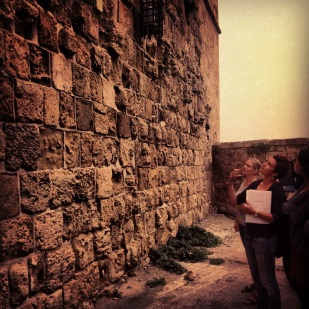 Recording the historic crusader tower at Khan el-Shwarde in Old Acre.