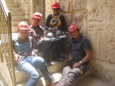 The team taking a break