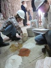 """Preparing the mortar """"recipe"""" in the Kotel Tunnels"""